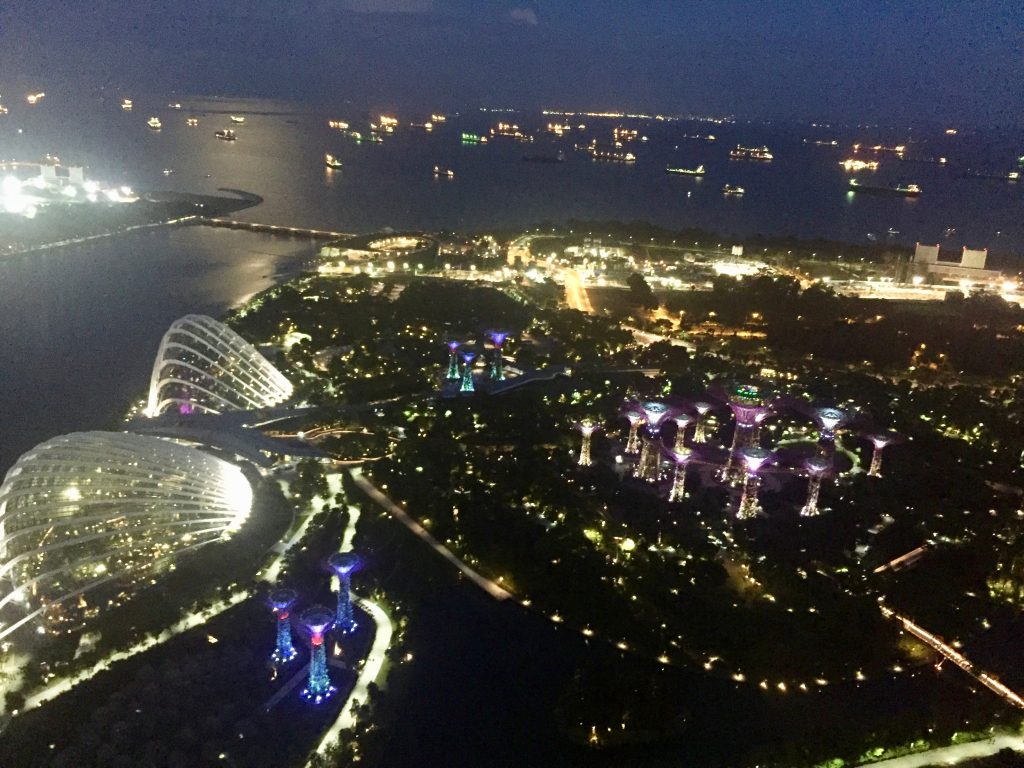 Singapore by night, view from Marina Bay Sands