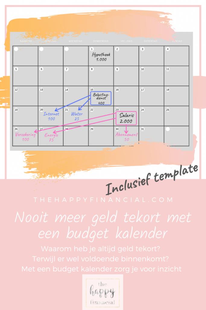 Nooit meer geld tekort met een budget kalender